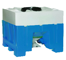 45 Degree Bottom Discharge Hopper Bin, Blue Base