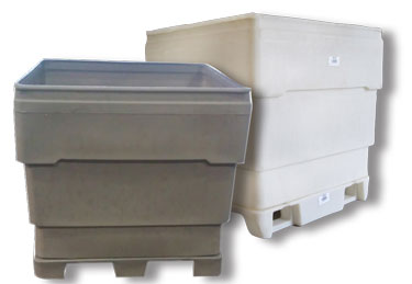 Rhino Single Wall Bins - 4-Way Fork Entry Base or Roll Over Base